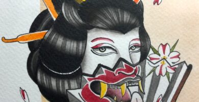 Hecho por Majo En Estudio #geisha #oni #mask #acuarela #tattoo #tatuajes #watercolor #CDMXDelValle184 #DelValle…