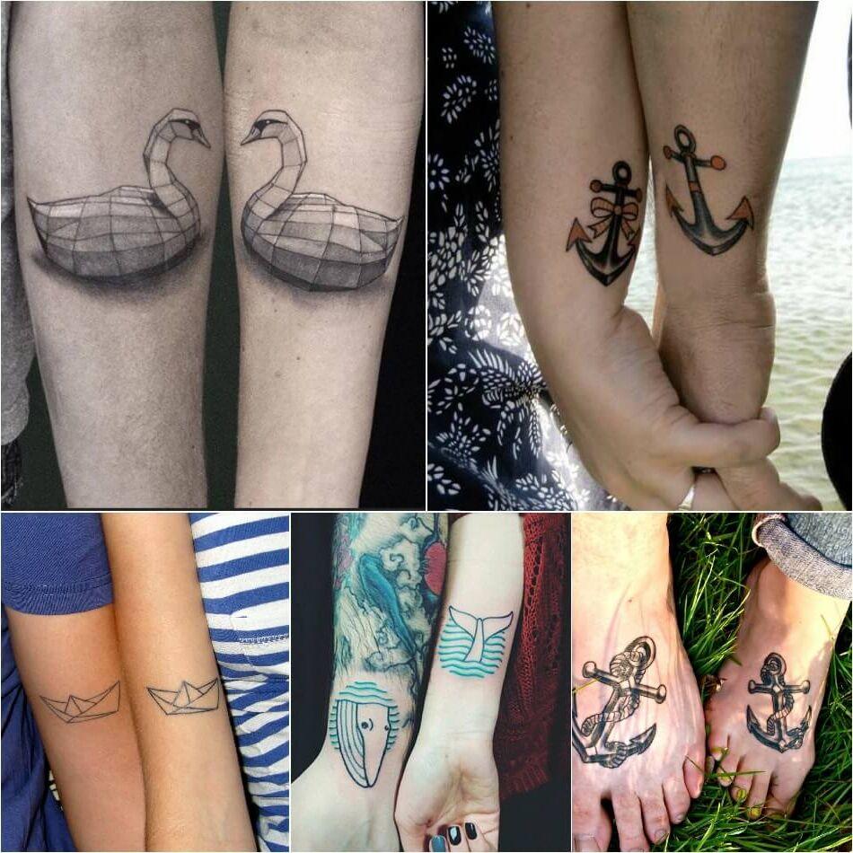 Tatuajes para parejas collage coronas motivos marítimos barcos anclas cisnes de papel