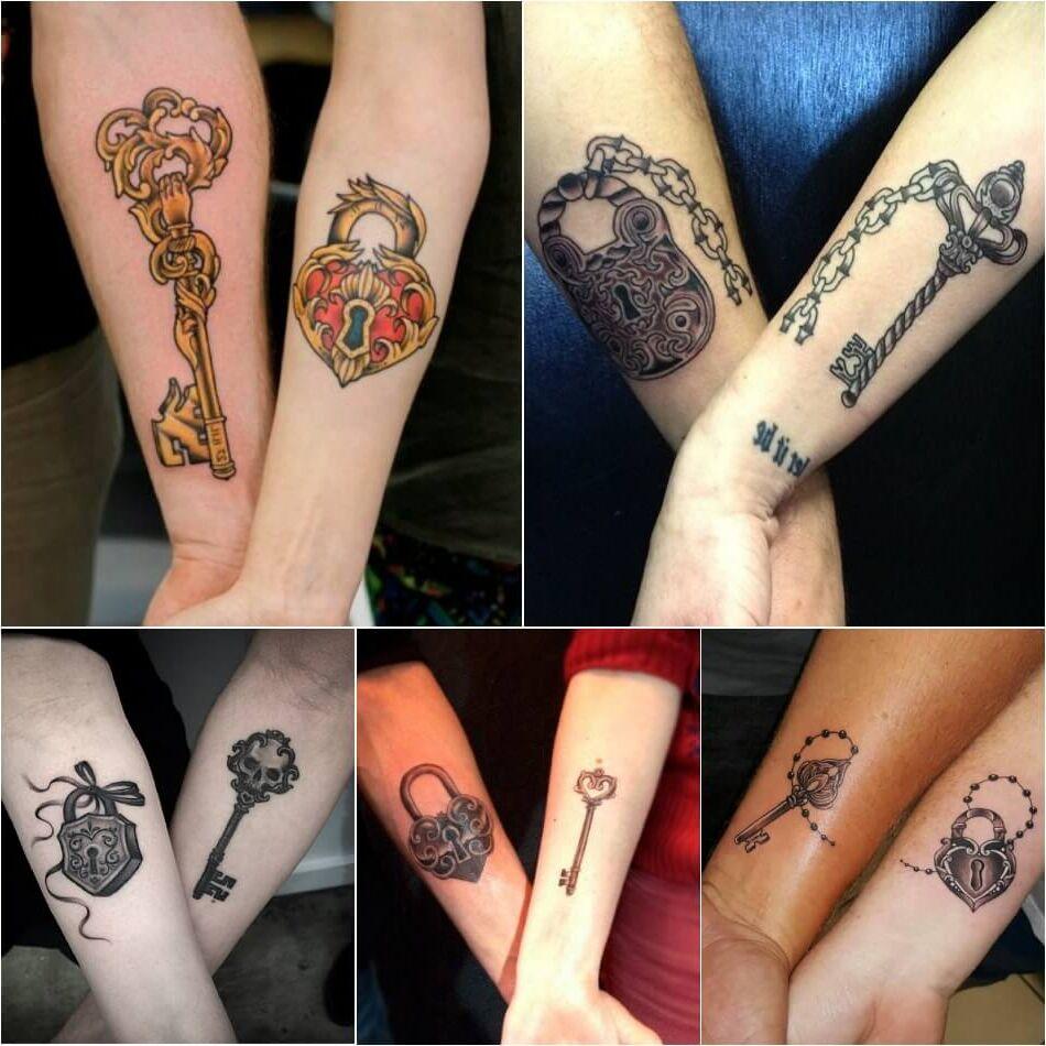 Tatuajes para parejas collage llaves y candado