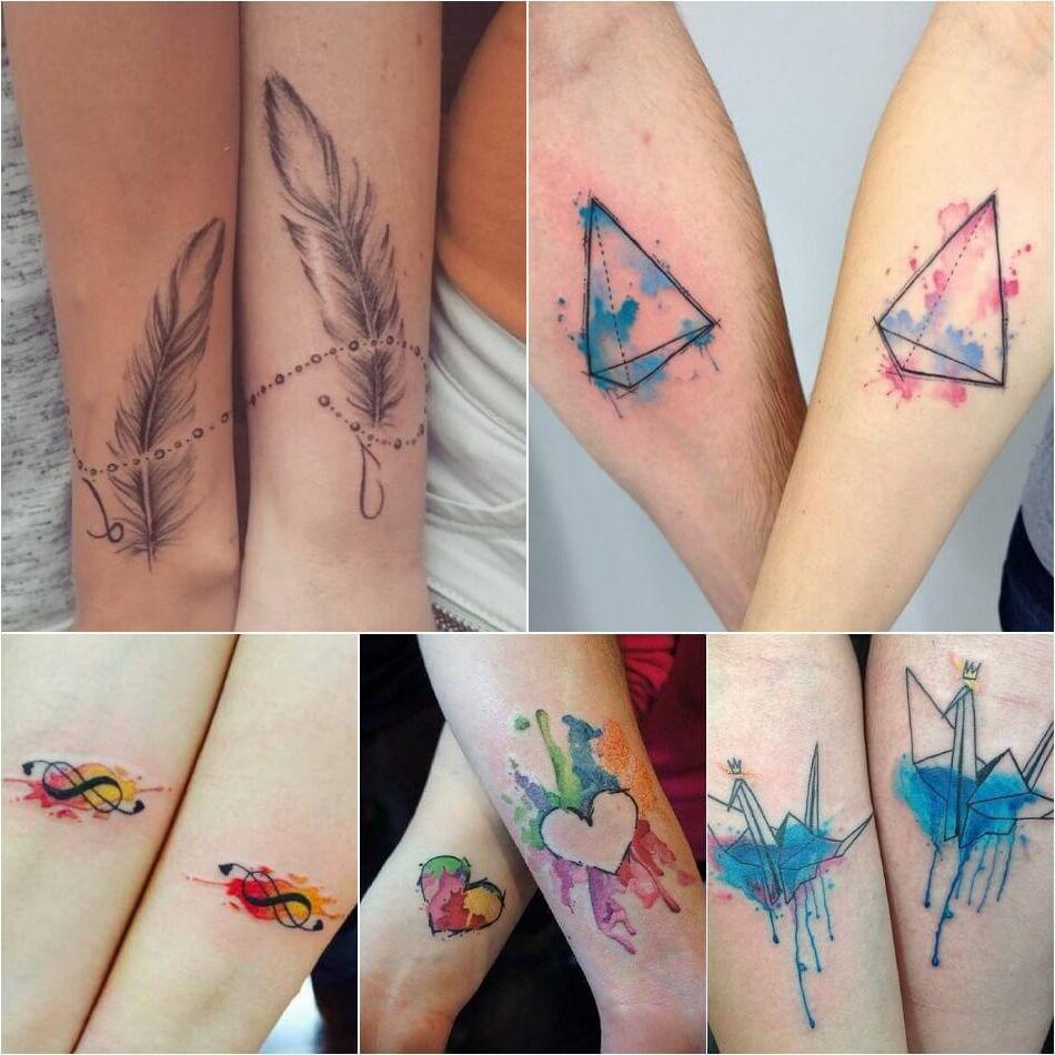 Tatuajes Tattoos para parejas collage iguales pluma barrilete infinito a colores corazon cisne de papel