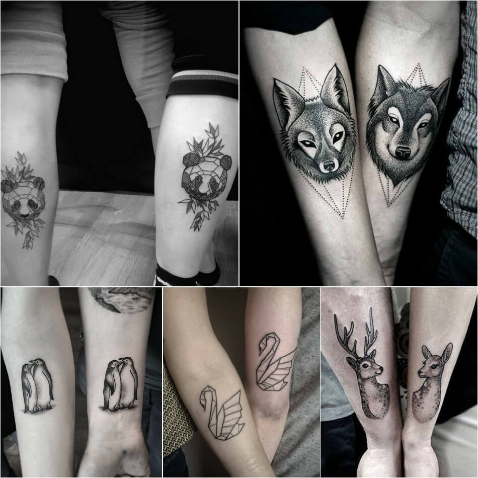 Tatuajes Tattoos para parejas collage animales lobo oso pinguinos cisne venado