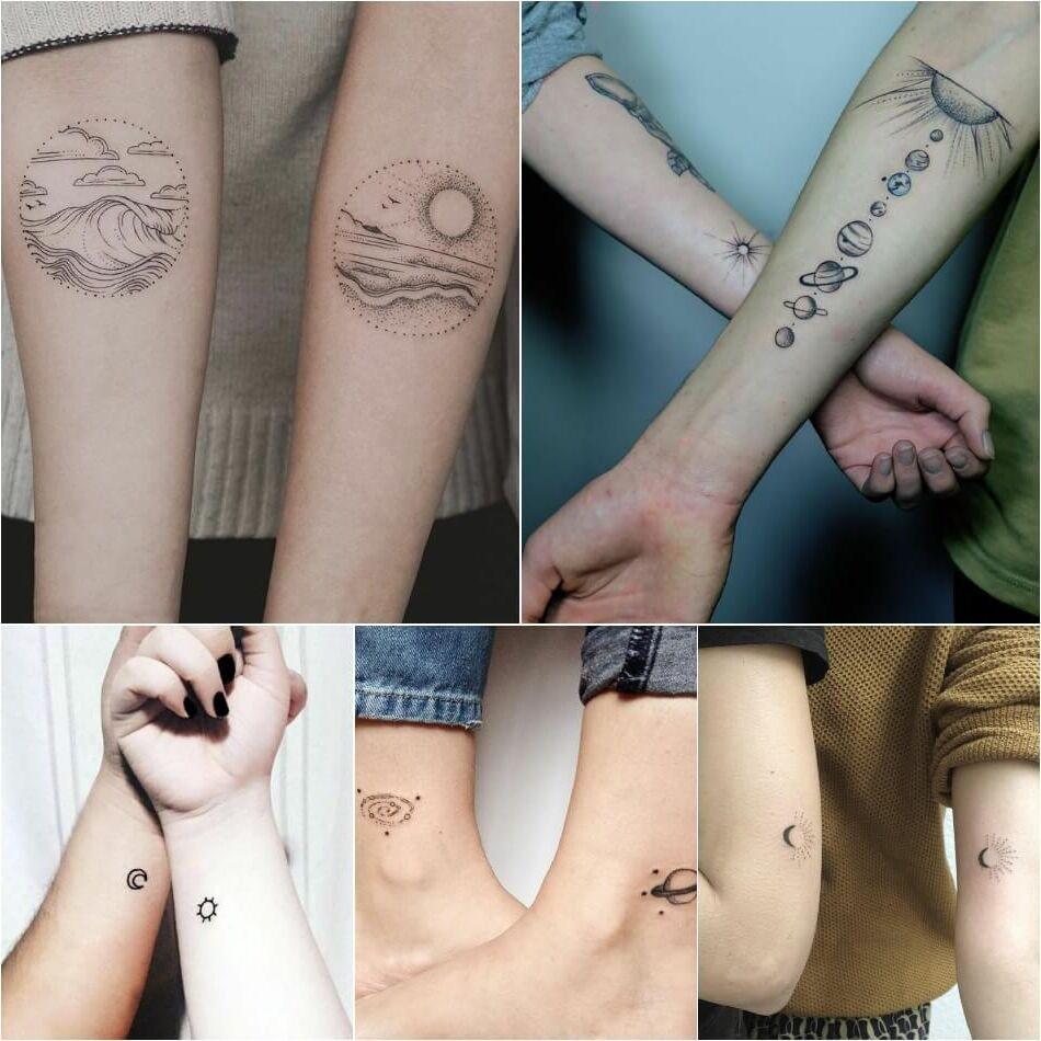 Tatuajes Tattoos para parejas collage planetas emparejados luna saturno sistema solar