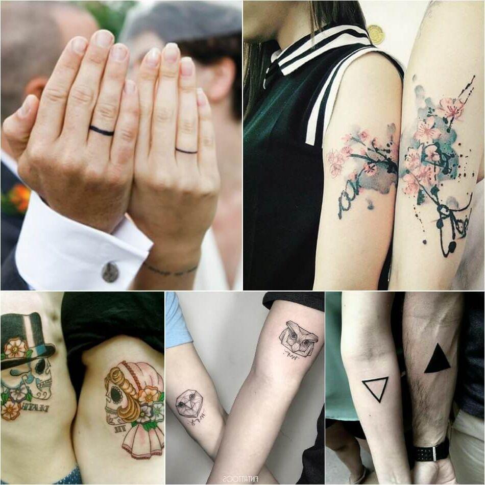 Tatuajes para parejas collage anillo de compromiso motivos florales triángulos calaveras búhos