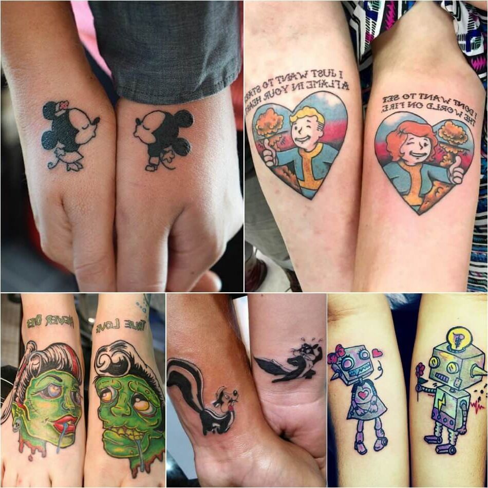 Tatuajes Tattoos para parejas collage caricaturas