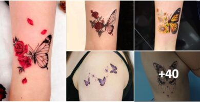 Collage Tatuajes de Mariposas Colores