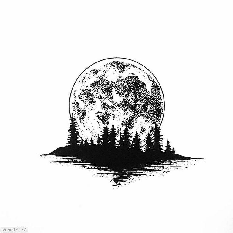 eskizy tatu luna