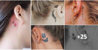 Collage Tatuajes Discretos pero Hermosos detras de las Orejas