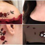 Collage de tatuajes de rosas rojas