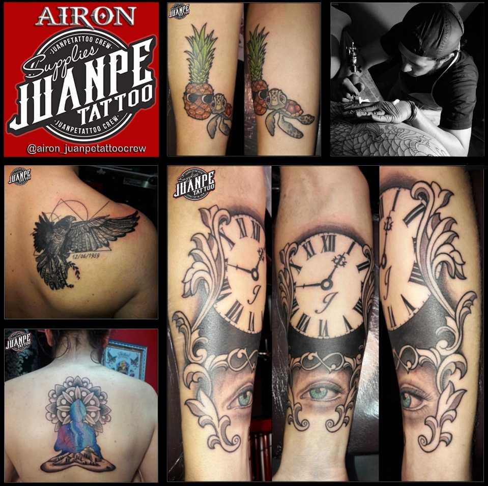 JuanPe Tattoo colage de tatuajes cuervo pinas emparejadas reloj