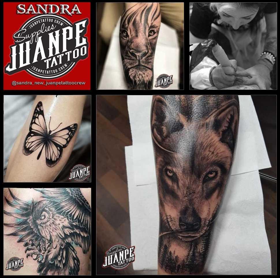 JuanPe Tattoo colage de tatuajes leon lobo mariposa buho