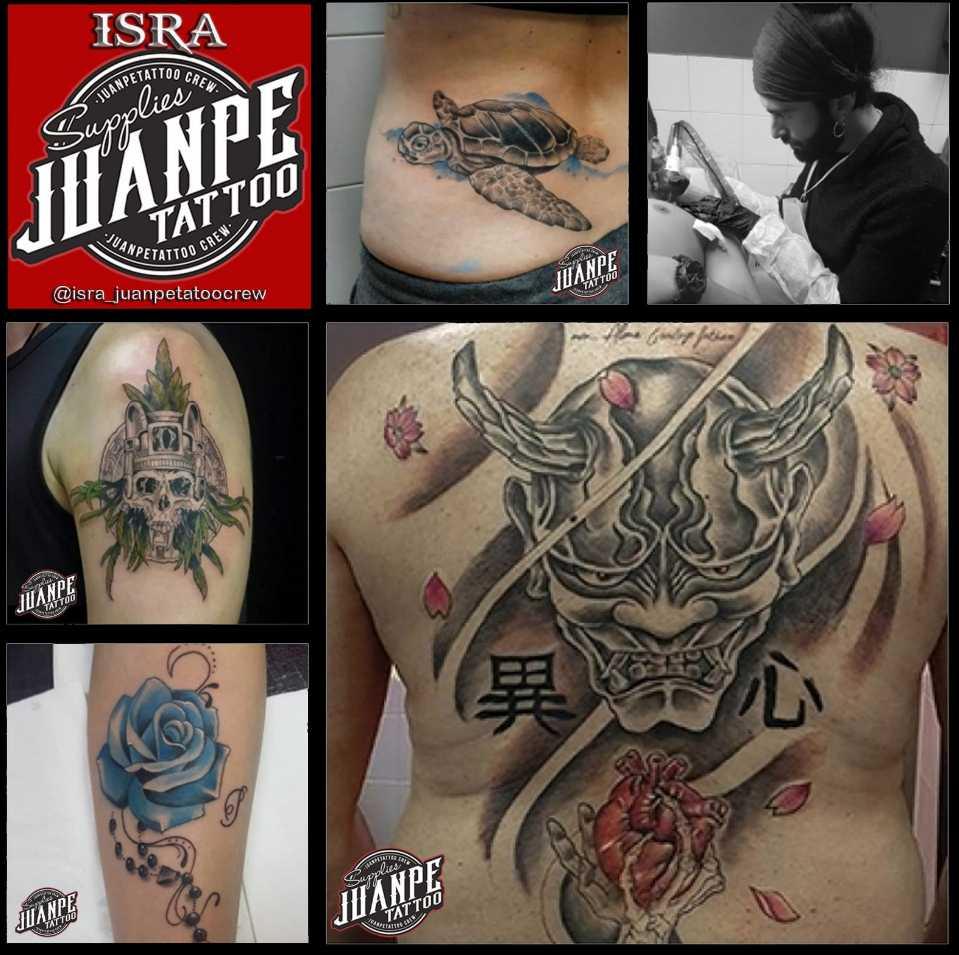 JuanPe Tattoo colage de tatuajes tortuga rosas azul calavera diablo