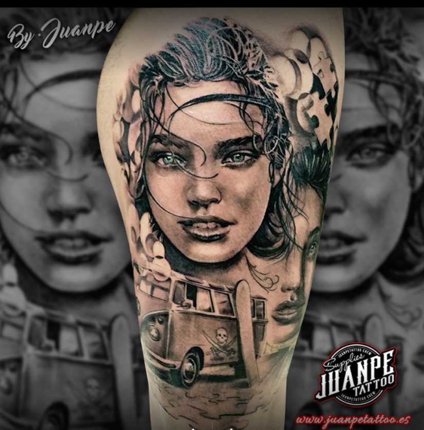 JuanPe Tattoo motivo abstracto con mujer
