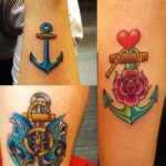 Tatuaje de ancla tres motivos llamativos con rosas y timon y corazon