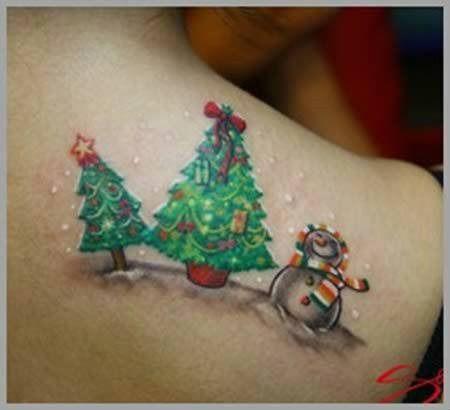 Tatuajes Navidenos arbol y muneco de nieve