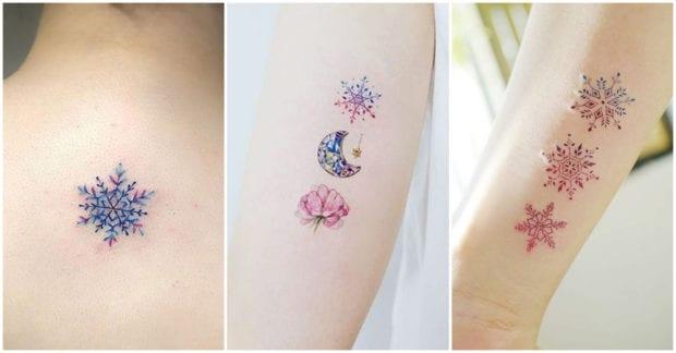 Tatuajes Navidenos varios copos de nieve
