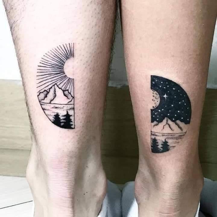 Tatuajes Pequenos para Parejas motivo del sol y la luna en pantorrilla