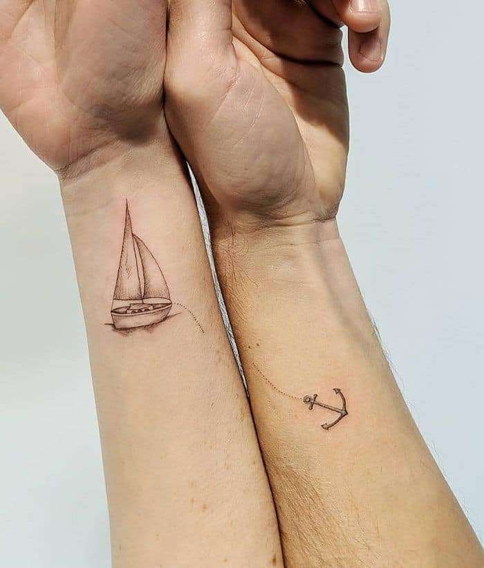 Tatuajes Pequenos para Parejas velero y ancla