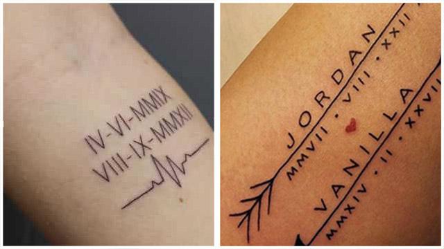 Tatuajes con Letras Romanas fecha de nacimiento de hijos bebes