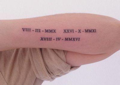 Tatuajes con Letras Romanas numero grande en todo el antebrazo
