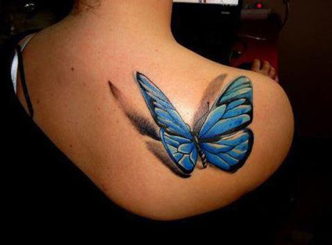 Tatuajes de Mariposas Azules en 3d en hombro