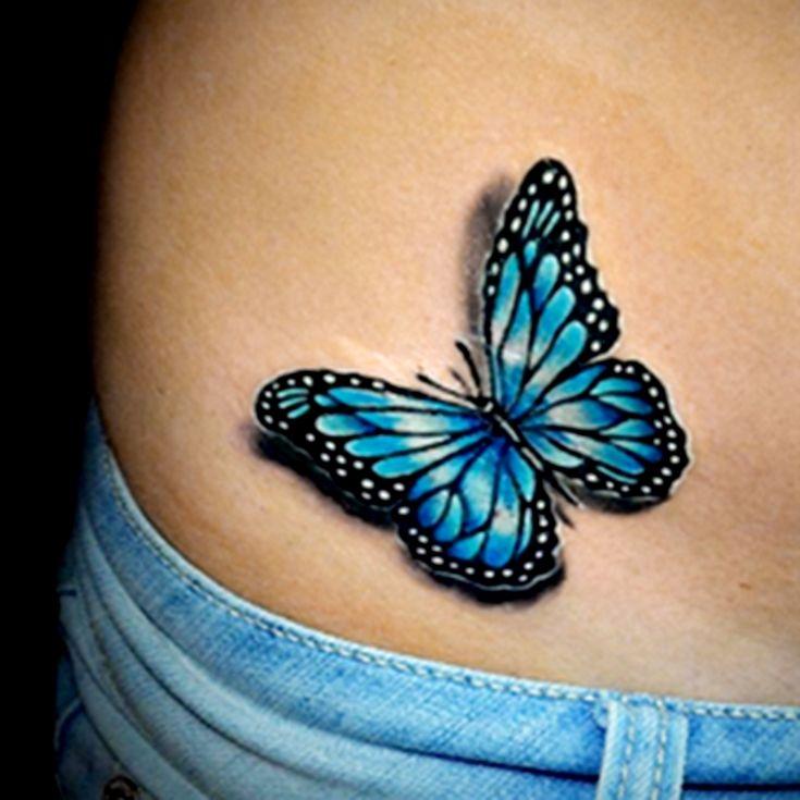 Tatuajes de Mariposas Azules en baja espalda 2