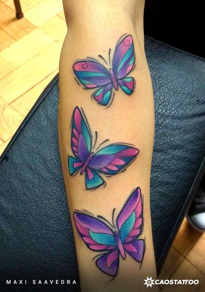 Tatuajes de Mariposas Azules y violetas Tres