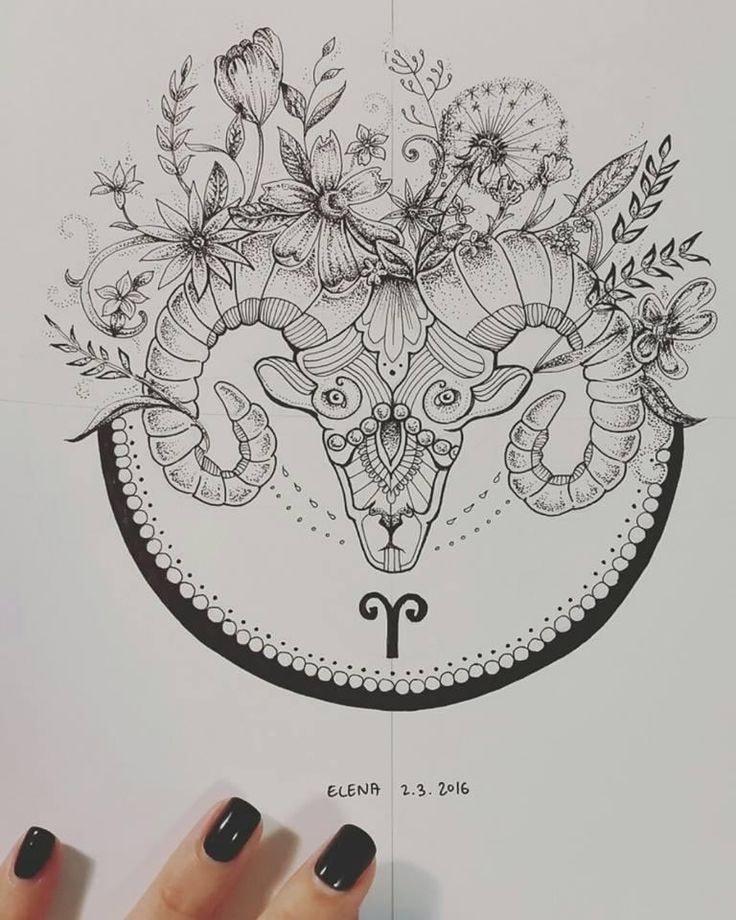 Tatuajes de aries boceto con flores