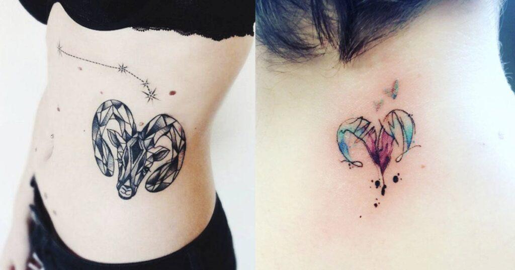 Tatuajes de aries en el costado mujer y posterior cuello