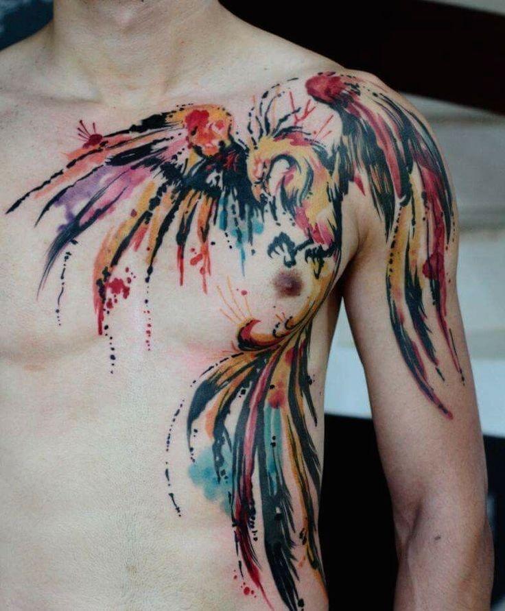 Tatuajes en pecho completo hombre ave fenix en colores