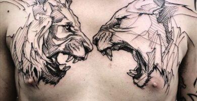 Tatuajes en pecho completo hombre leon y leona