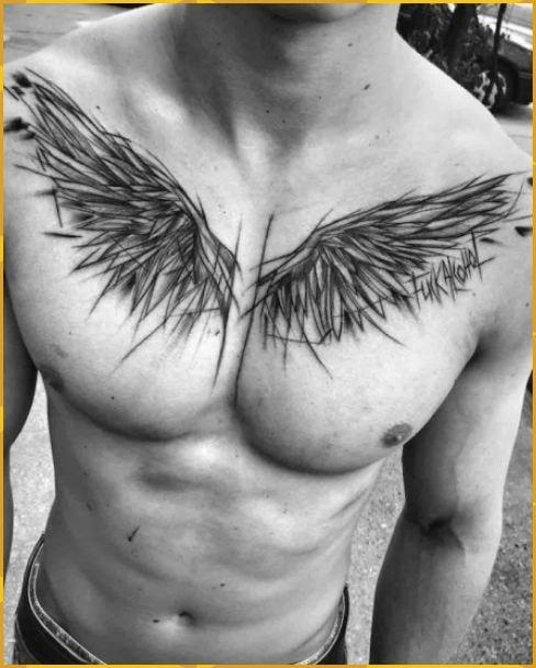 Tatuajes en pecho completo hombre solo alas de angel