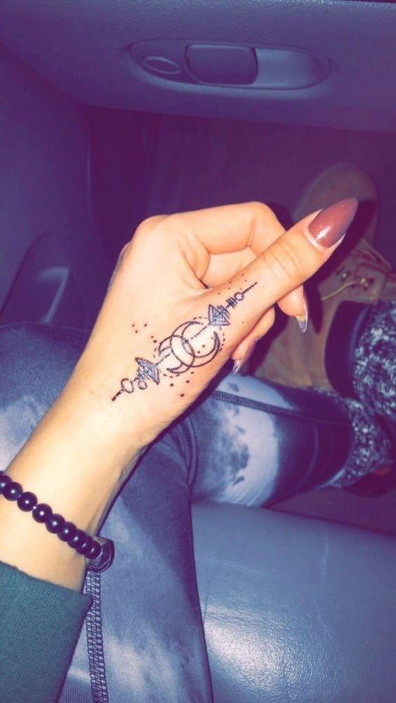 Tatuajes para las manos hermoso diseno de luna y llamador de angeles