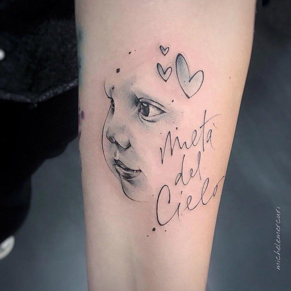 Tatuajes para madres mamas cara del ninos que se fue al cielo con inscripcion