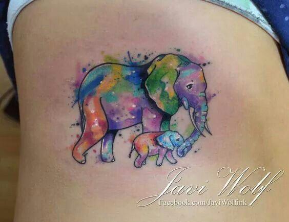 Tatuajes para madres mamas elefante mama y elefante hijo