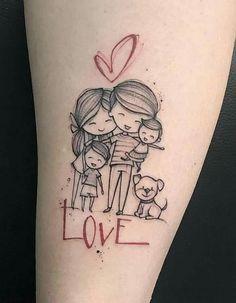 Tatuajes para madres mamas familia completa con corazon y inscripcion de amor
