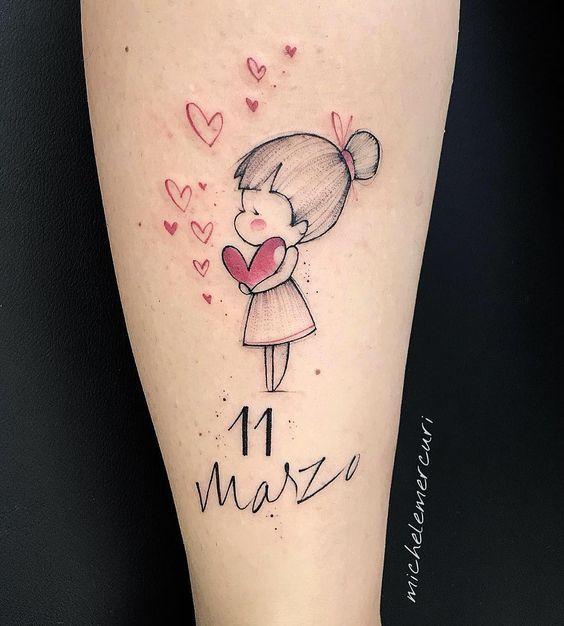 Tatuajes para madres mamas fecha nena y corazon