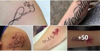collage tatuajes nombres