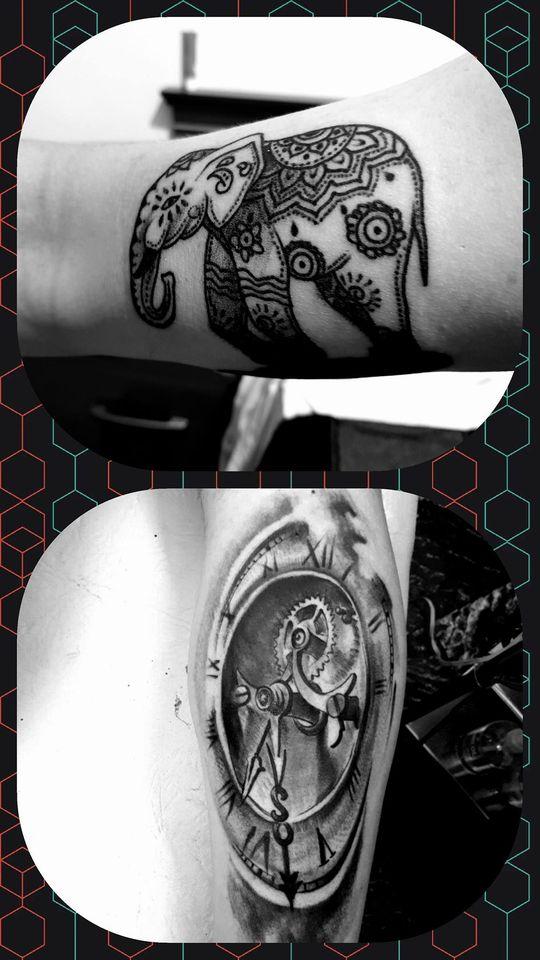 Tatuaje diseño de maquinas y engranajes