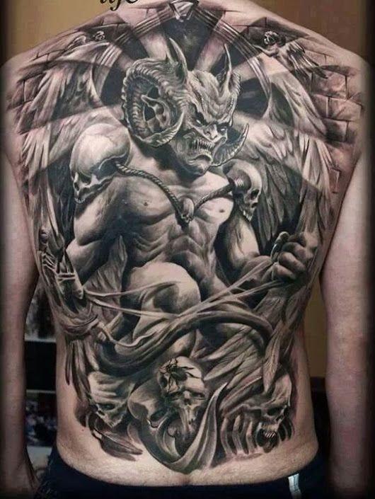 tatuaje espalda completa hombre demonio