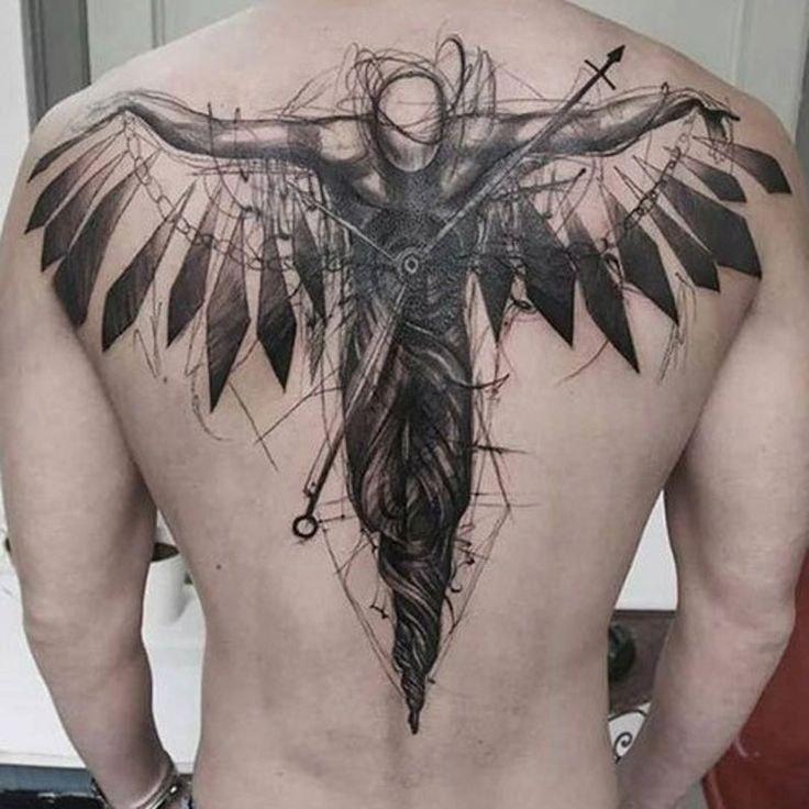 tatuaje espalda completa hombre hombre alado
