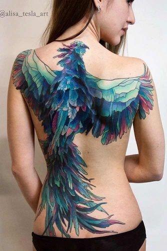 tatuaje espalda completa mujer ave fenix en tonos azules