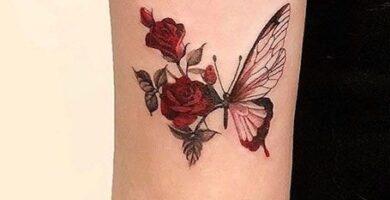 tatuaje mariposa con rosa 4