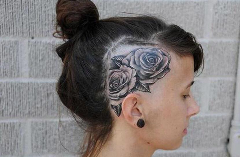 tatuaje en la cabeza de mujer