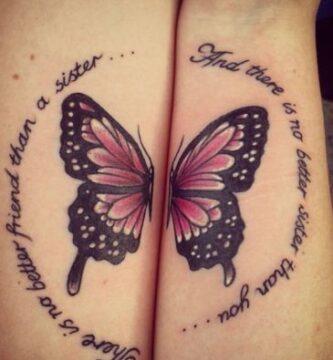tatuajes para amigas hermanas primas mitad de mariposa en cada brazo